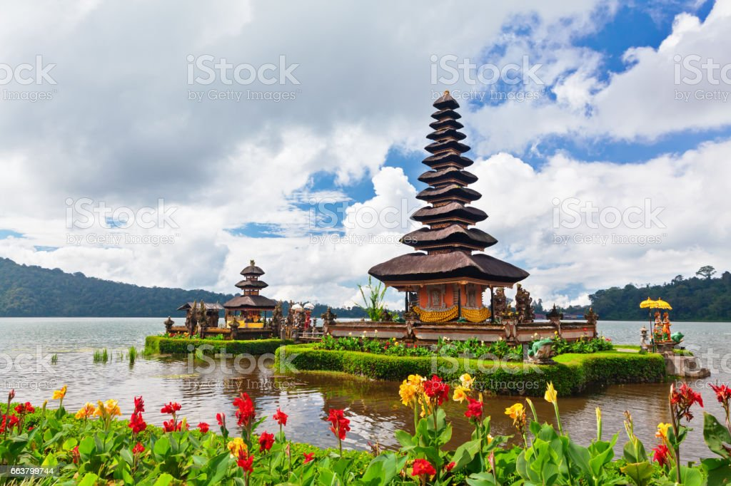 Traditional Balinese temple. Popular day tour destination in Bali stock photo