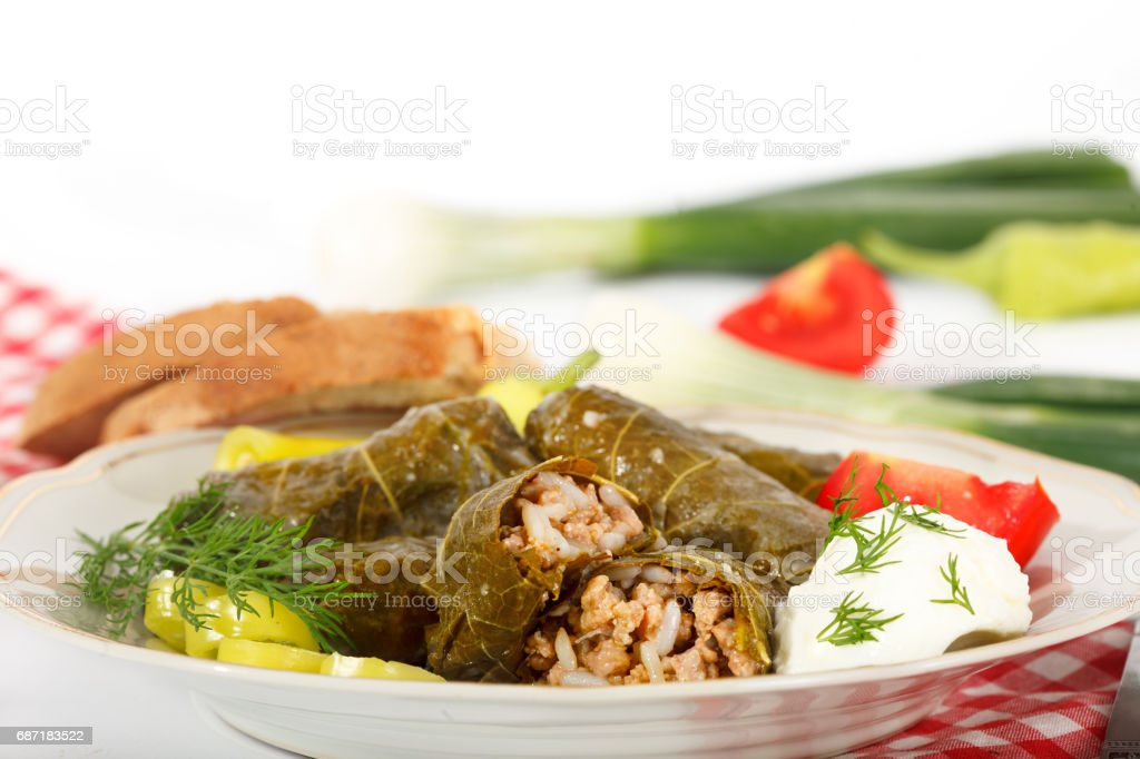 Traditional Balkan or Greek dolma with meat in grape leaves stock photo