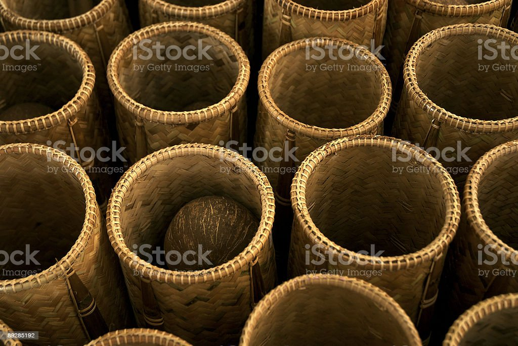 Traditional bamboo baskets royalty-free stock photo