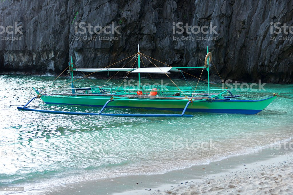 traditional banca outrigger boats in the philippines royalty-free stock photo