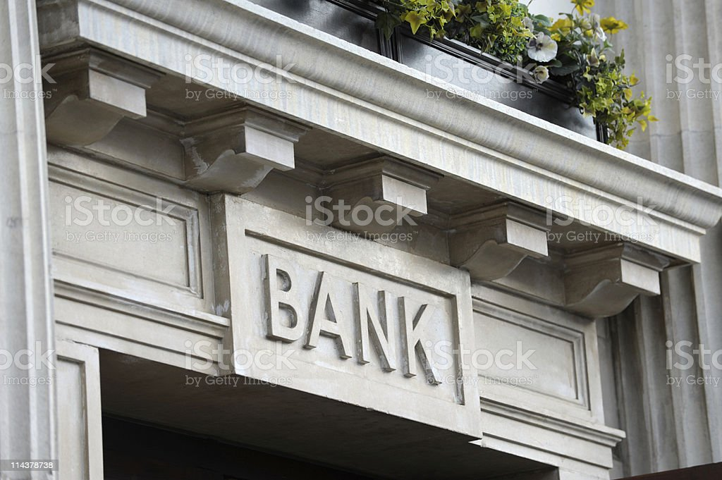 Traditional bank signage stock photo