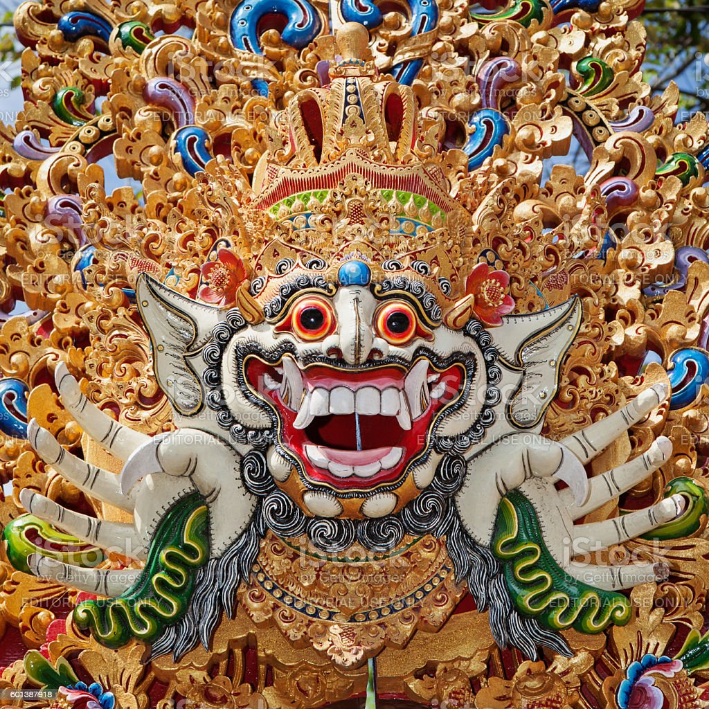 Traditional Barong mask pattern in temple on Bali island stock photo