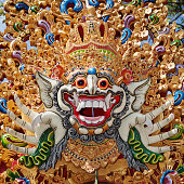 Traditional Barong mask pattern in temple on Bali island