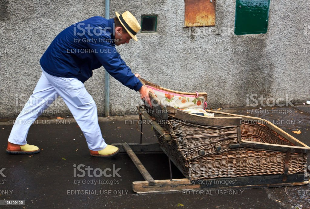 Traditional basket toboggan in Madeira, Portugal stock photo
