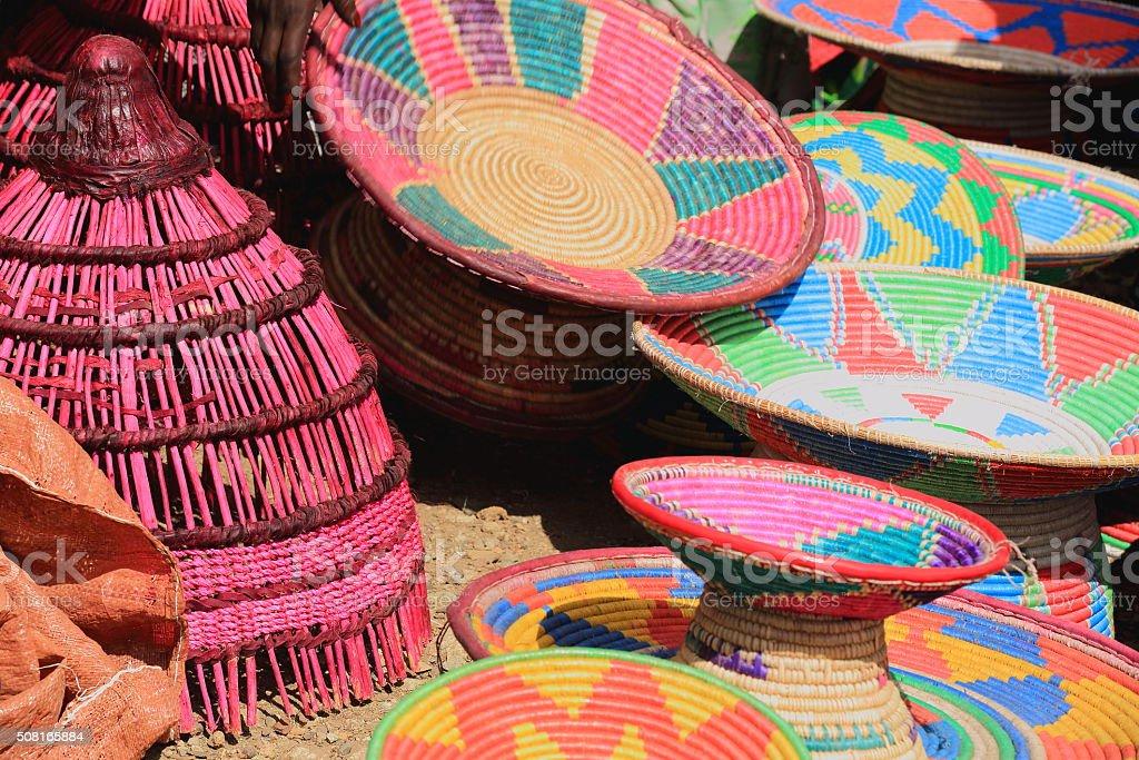 Traditional basketry in the sunday market. Senbete-Ethiopia. 0049 stock photo