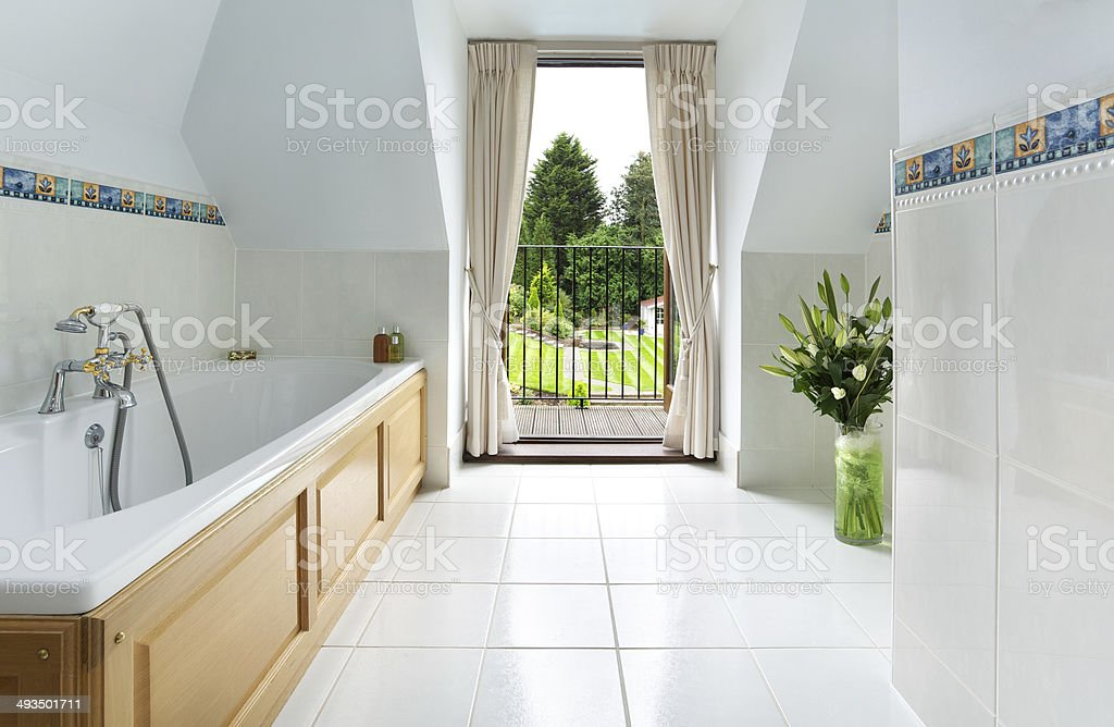 Traditional Bathroom and garden view stock photo