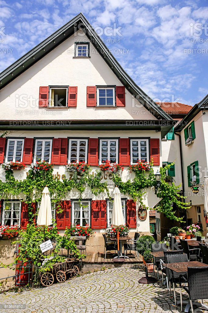 Traditional Bavarian beer keller and Pension in Nurtingen, Germany stock photo