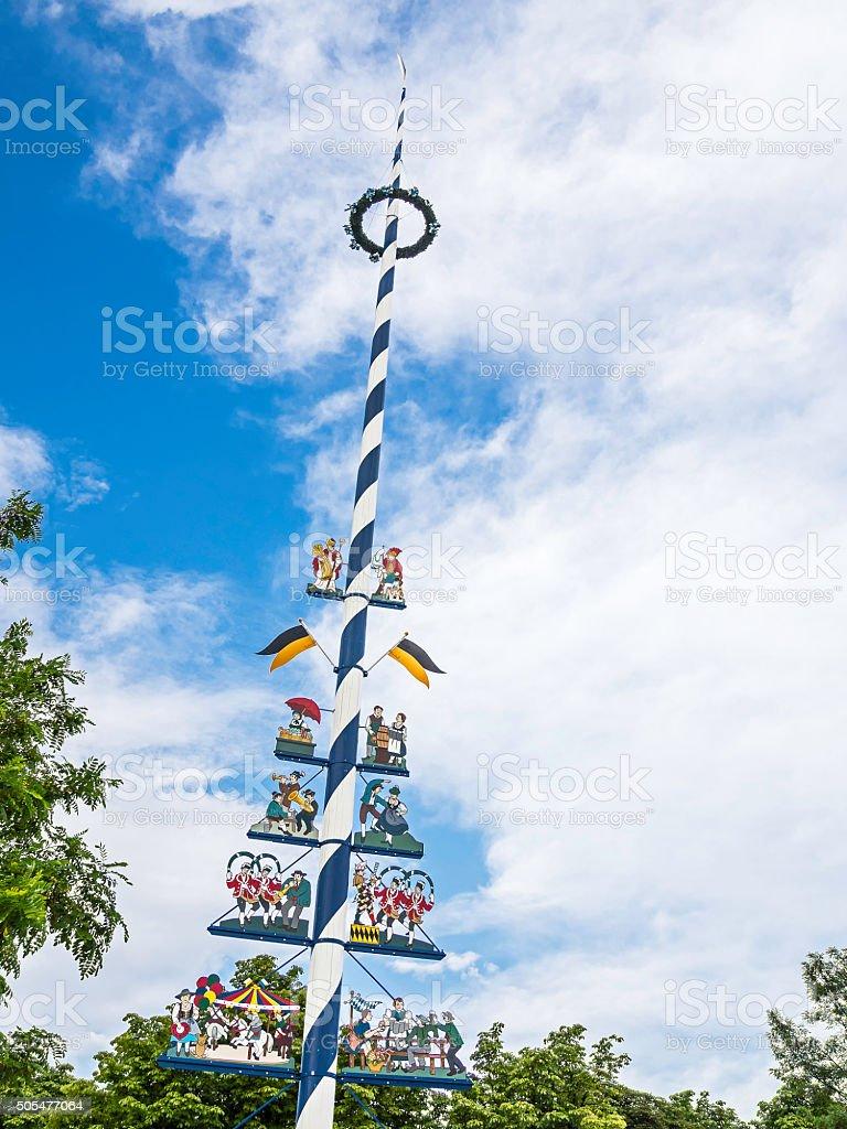 traditional bavarian maypole stock photo