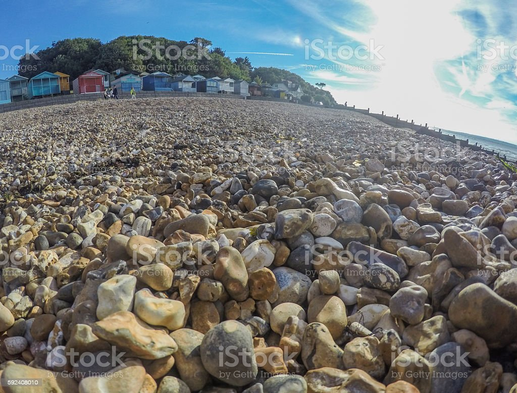 Traditional beach huts in Whitstable, Kent stock photo