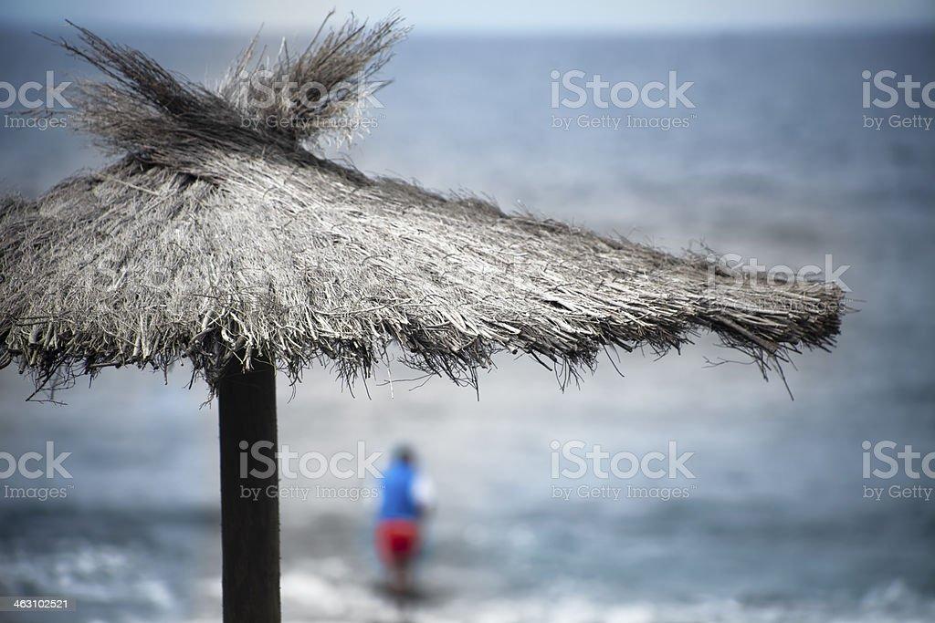 Traditional beach umbrella stock photo