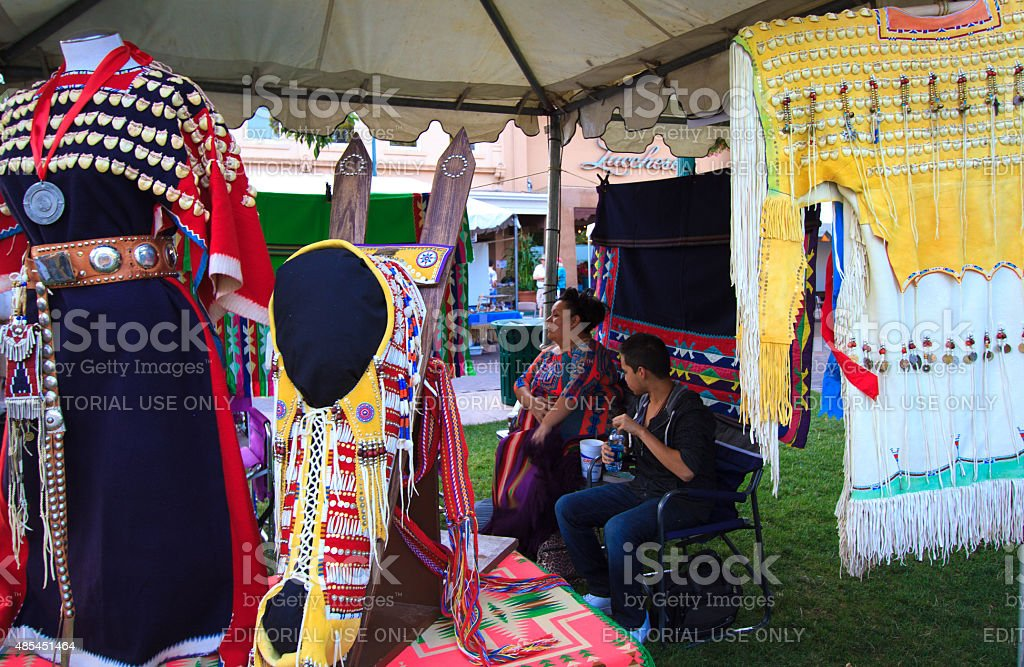 Traditional Beaded Costumes, 94th (2015) Annual Santa Fe Indian Market stock photo