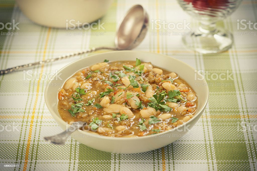 Traditional beans soup stock photo