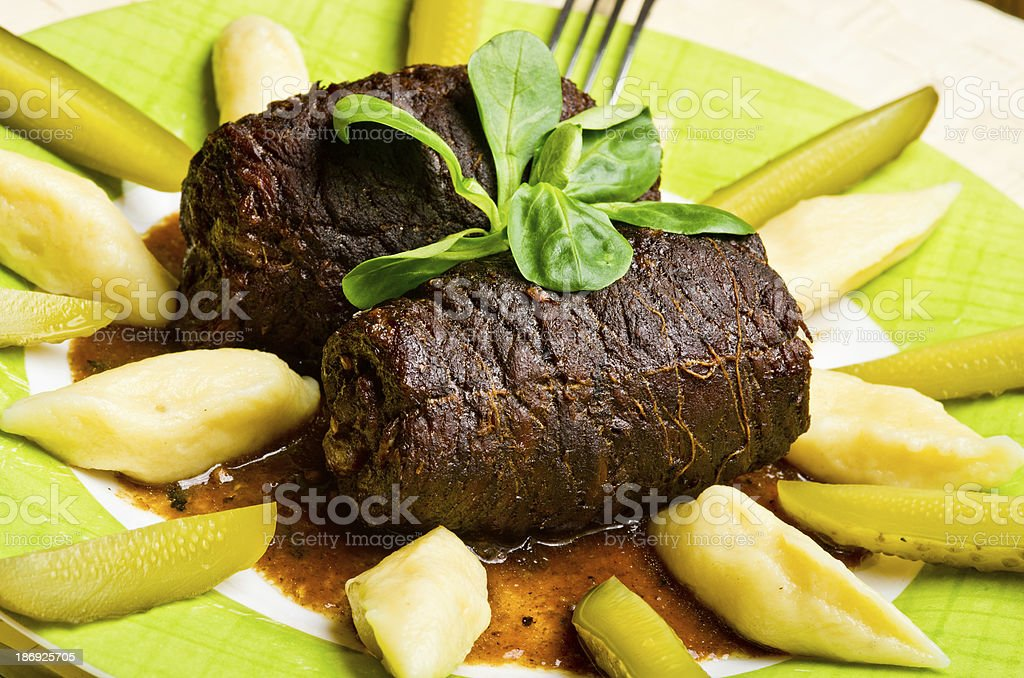 Traditional beef roulades stock photo