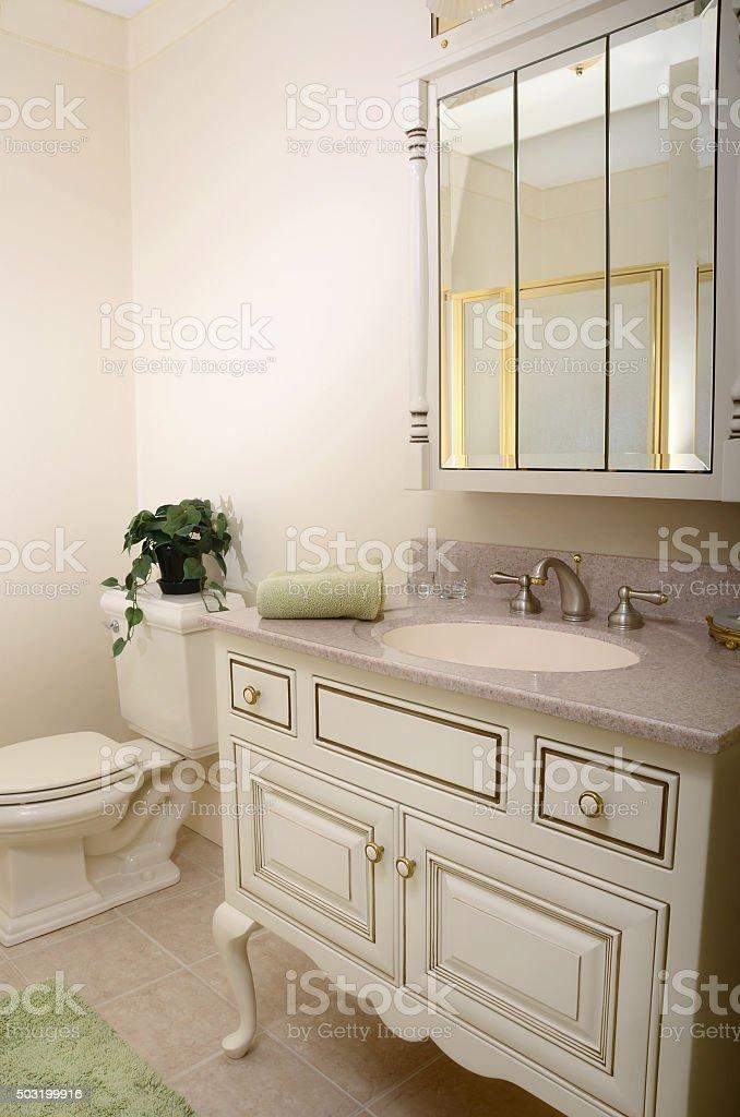 Traditional Beige Home Bathroom stock photo