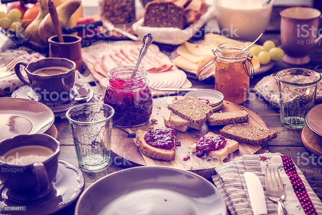 Traditional Belgium Breakfast stock photo