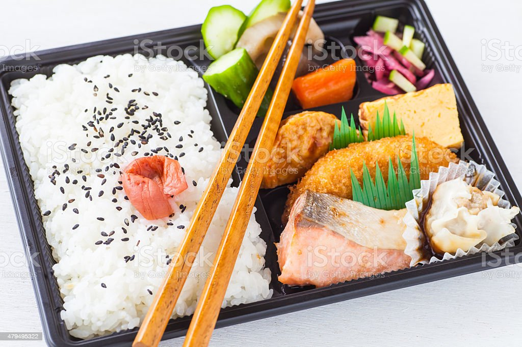 Traditional bento japanese cuisine a single-portion takeout or home-packed meal stock photo