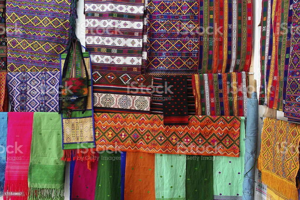 Traditional Bhutanese Fabrics stock photo