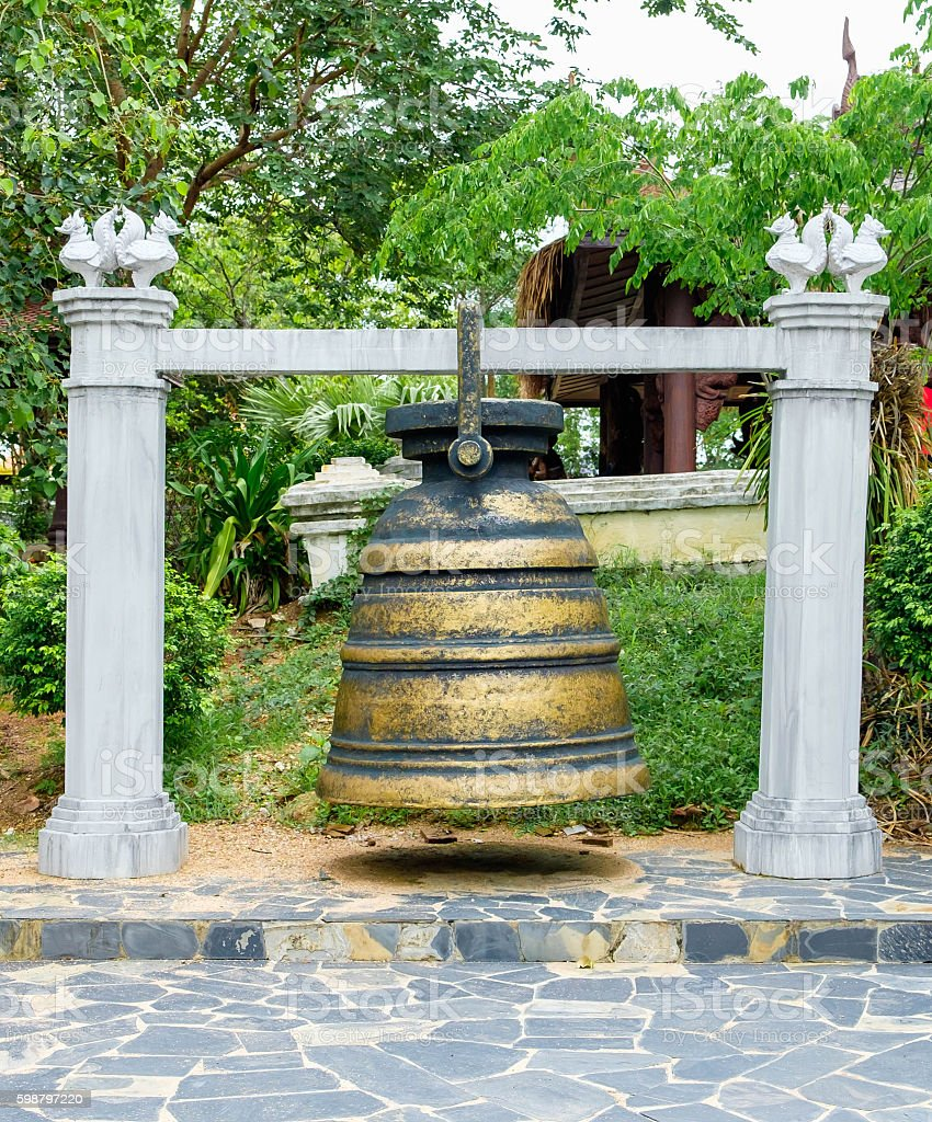 Traditional big brass bell in Thailand stock photo