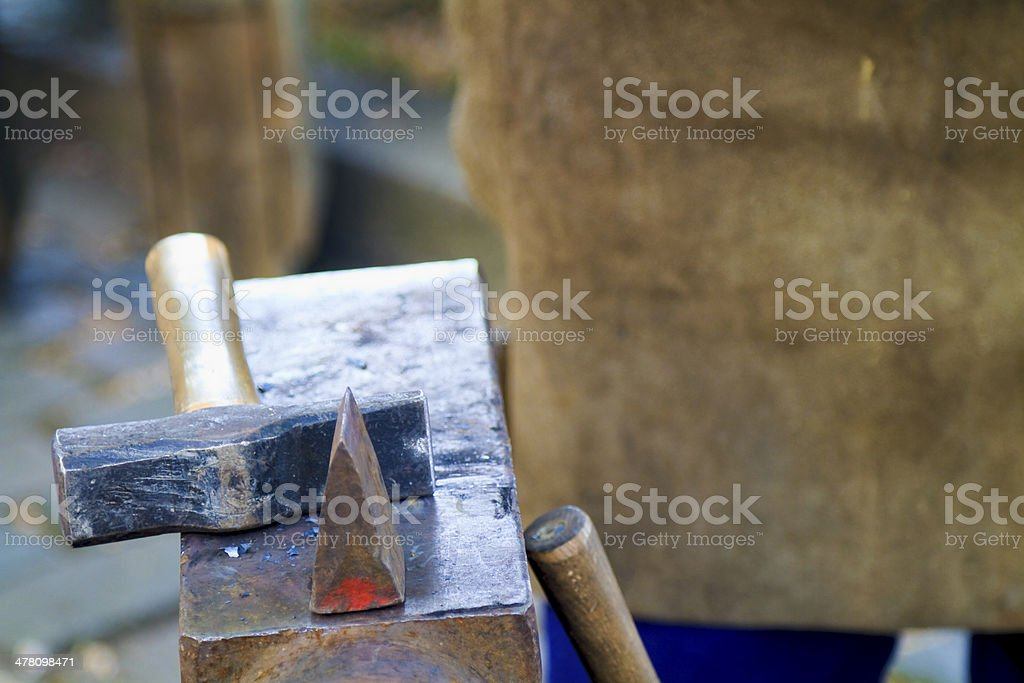 Traditional blacksmith scene close up royalty-free stock photo