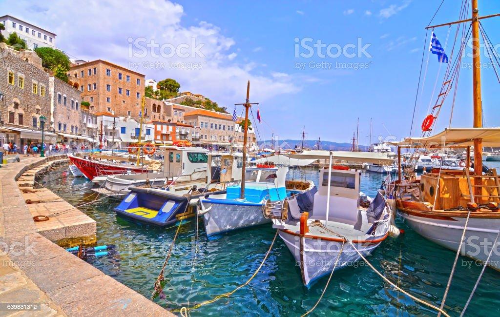 traditional boats at Hydra island Greece stock photo