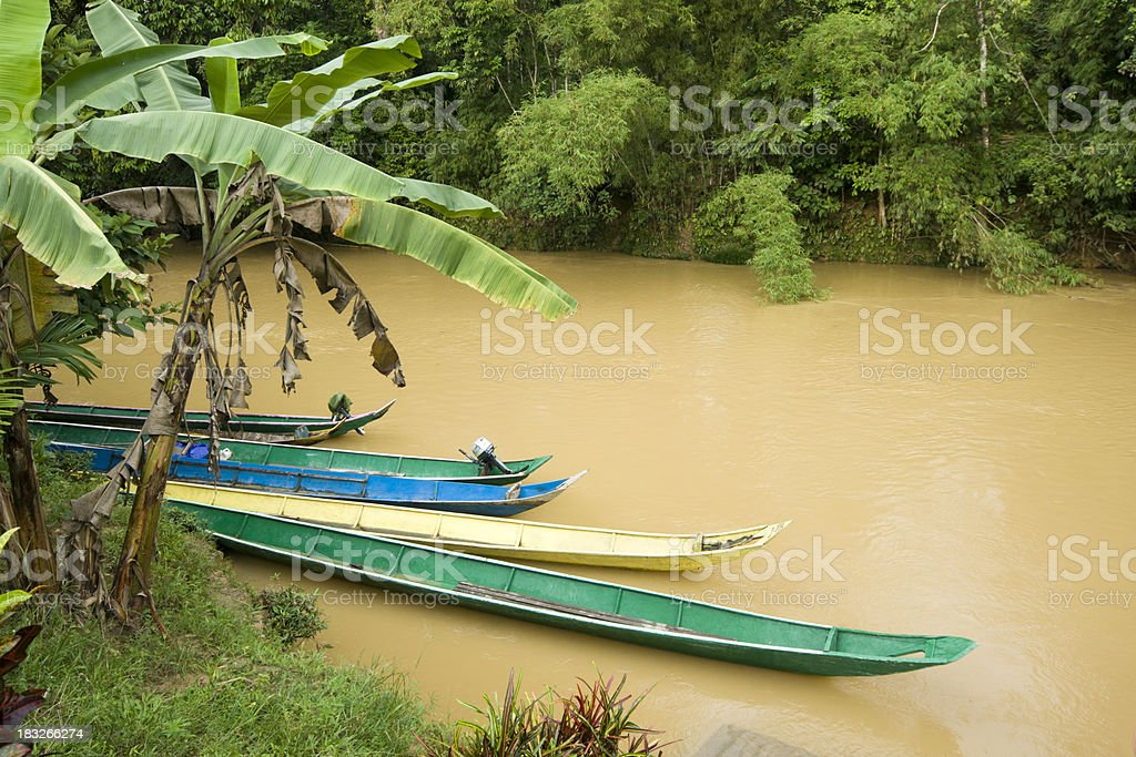 Traditional boats docked in Borneo stock photo