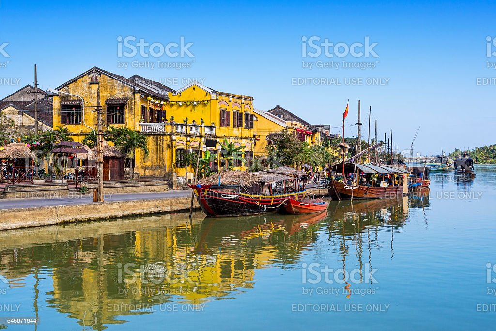 Traditional Boats in Hoi An Ancient Town, Vietnam stock photo