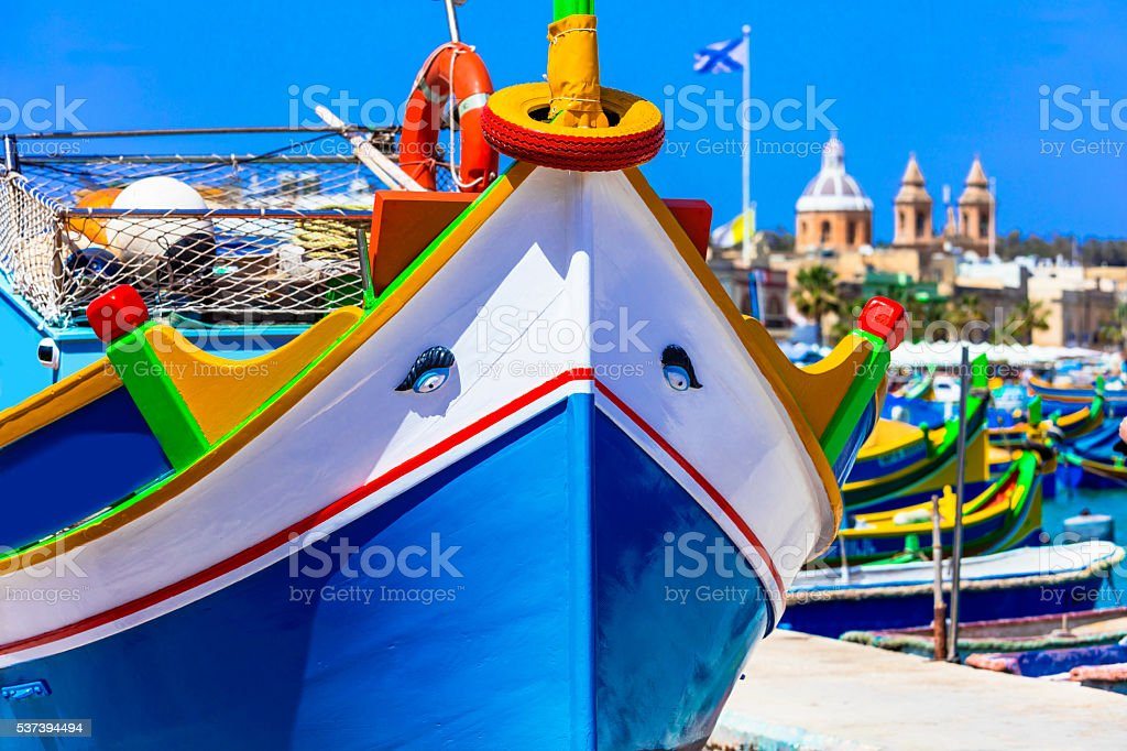 Traditional Boats Luzzu In Malta,Marsaxlokk Village. stock photo