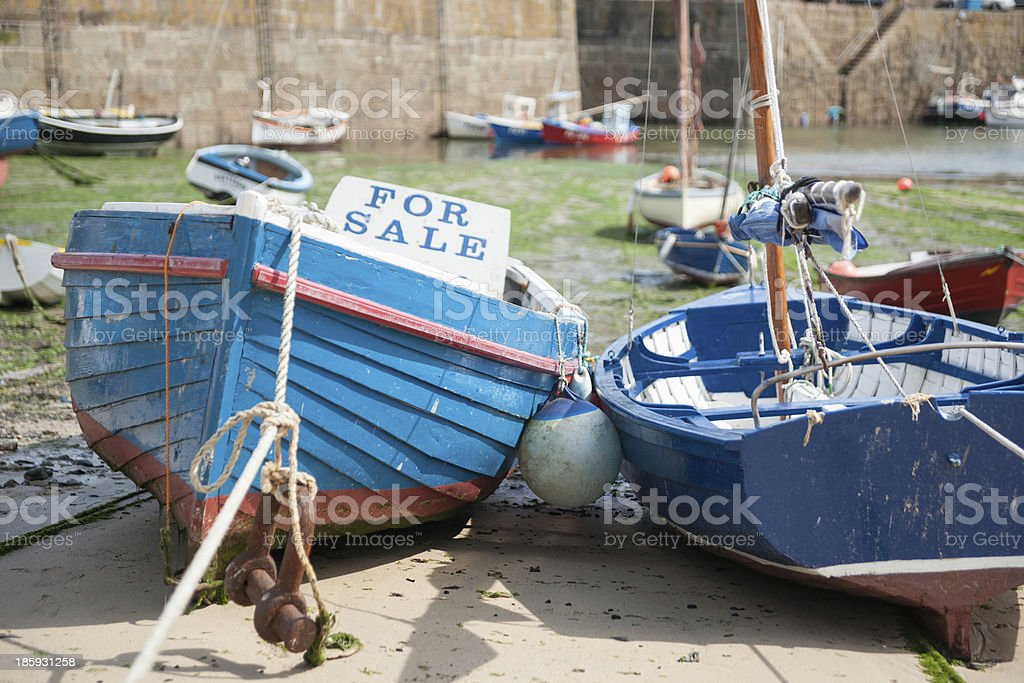 Traditional boats on beach stock photo