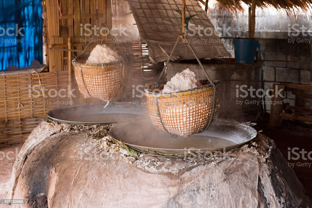 traditional boiled rock salt making industry stock photo