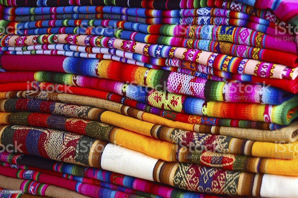 Traditional Bolivian/Peruvian fabric stock photo