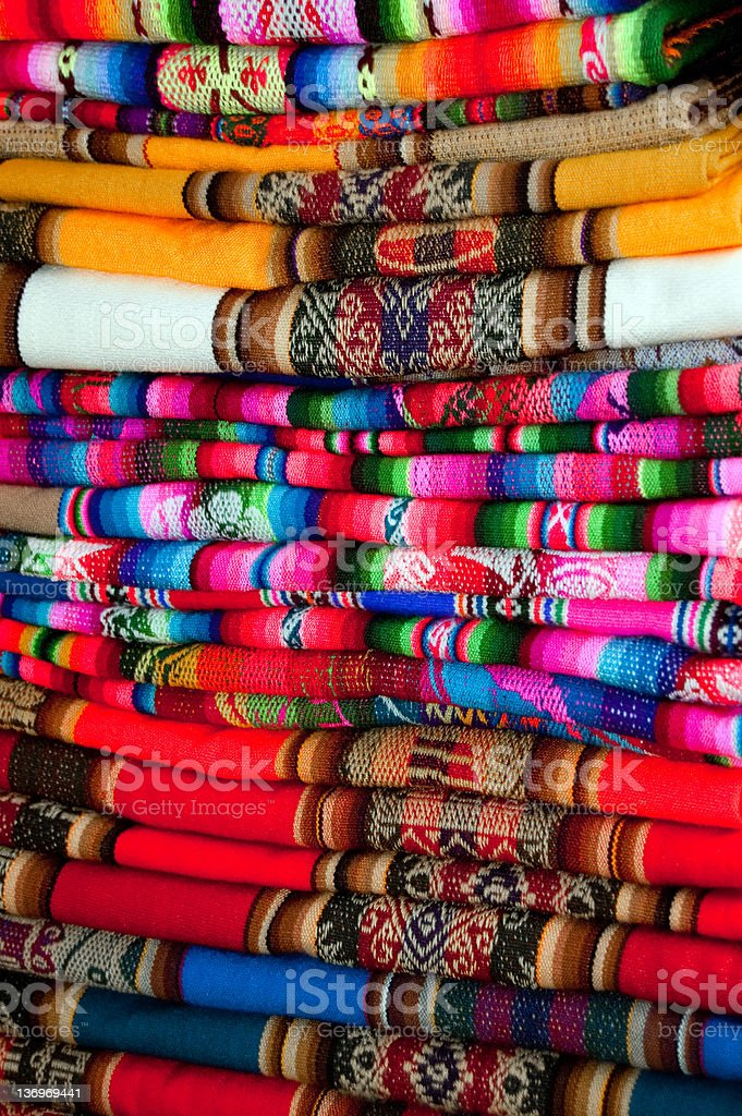 Traditional Bolivian/Peruvian fabric royalty-free stock photo