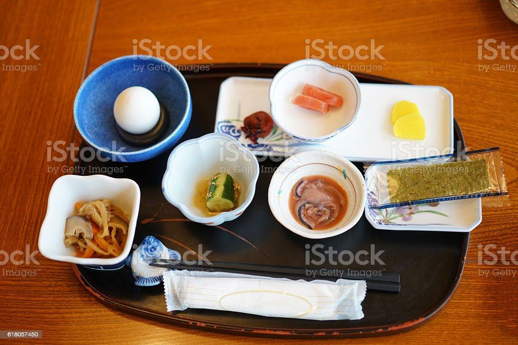 Traditional breakfast in Utoro town at Shiretoko, Japan stock photo