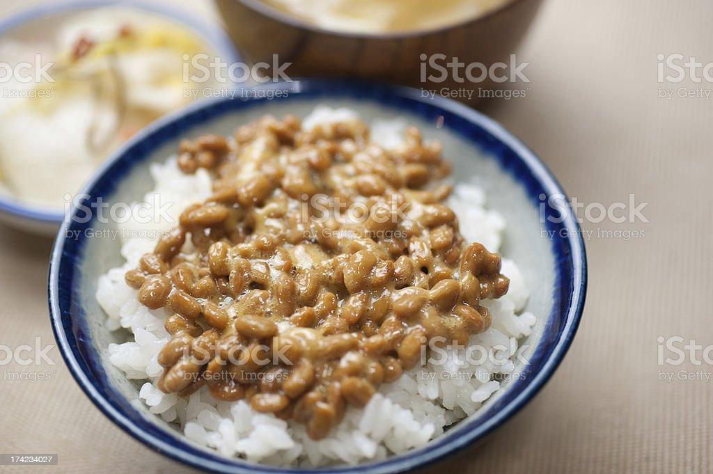 Traditional breakfast of Japan. Nattō gohan royalty-free stock photo