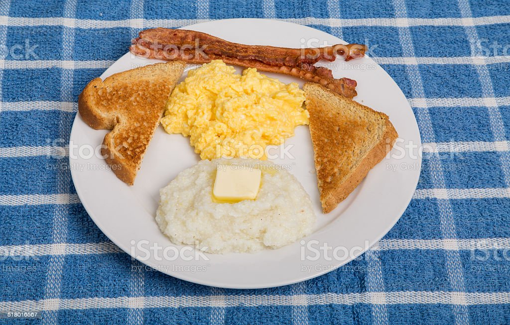 Traditional Breakfast with Grits stock photo