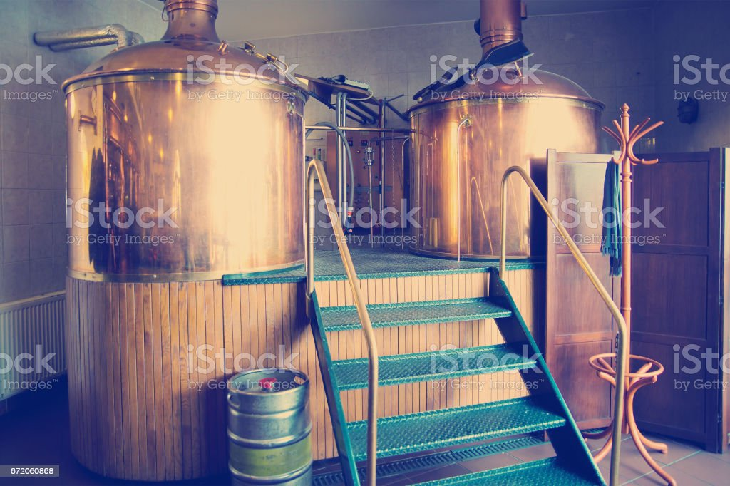 traditional brewing vessels stock photo