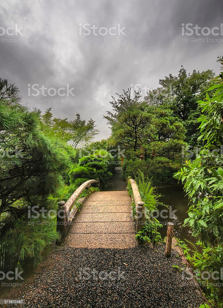 Traditional Bridge in old Kyoto stock photo