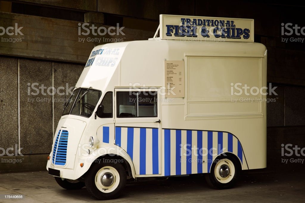 Traditional British Fish and Chips Truck stock photo