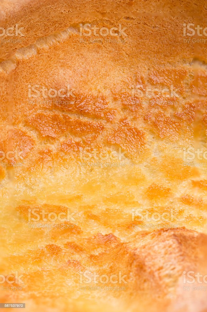 traditional British food the Yorkshire pudding close up texture detail stock photo