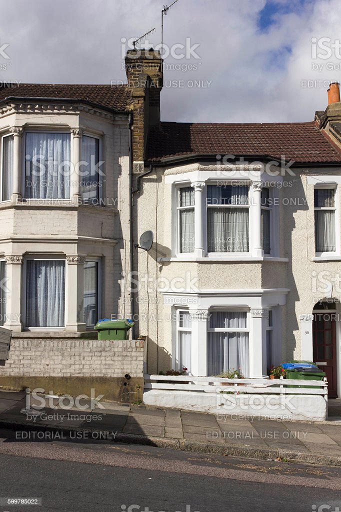 Traditional British houses facade stock photo