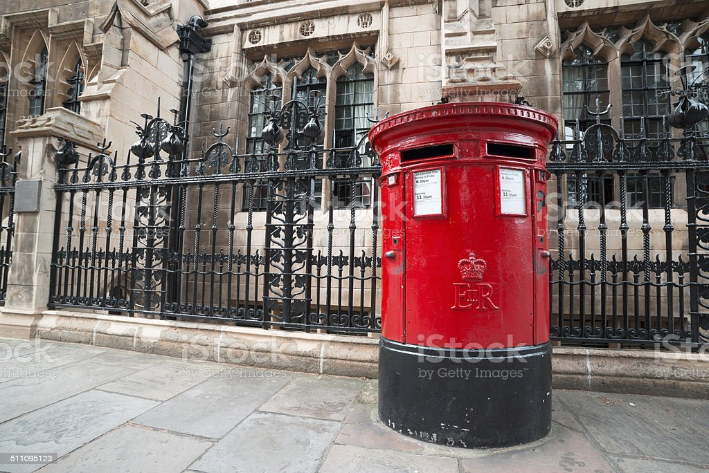 Traditional British Post Box stock photo