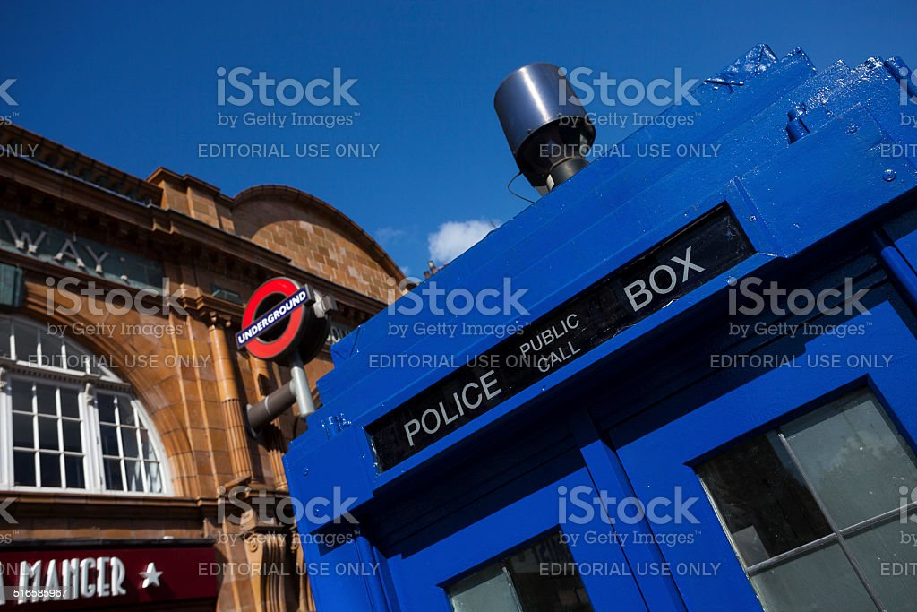 Traditional British public call police box stock photo