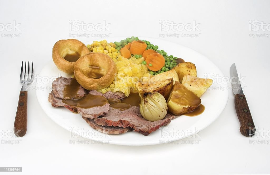 Traditional British Roast Beef Sunday Lunch royalty-free stock photo