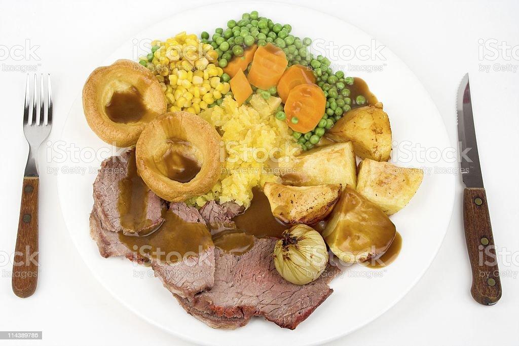 Traditional British Roast Beef Sunday Lunch stock photo