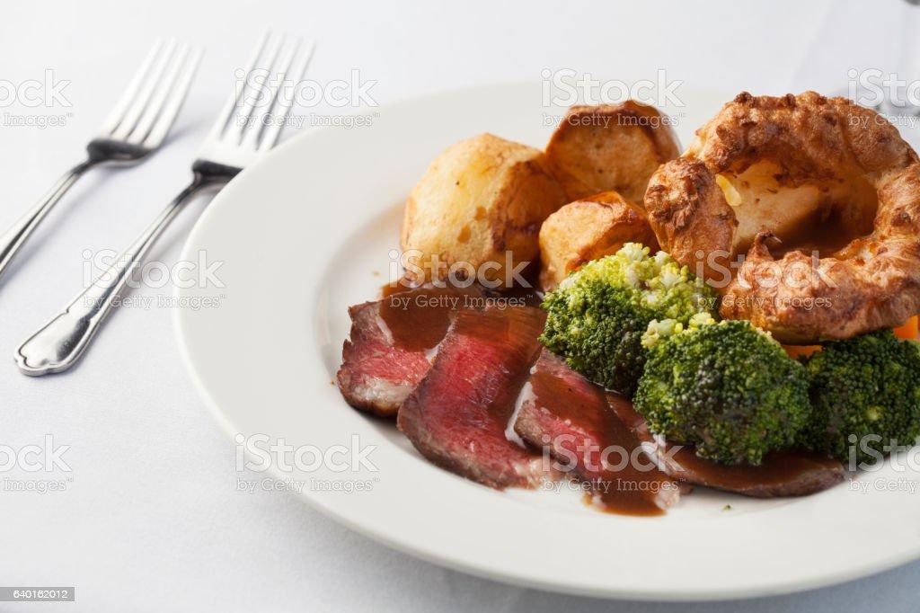 Traditional British roast dinner stock photo