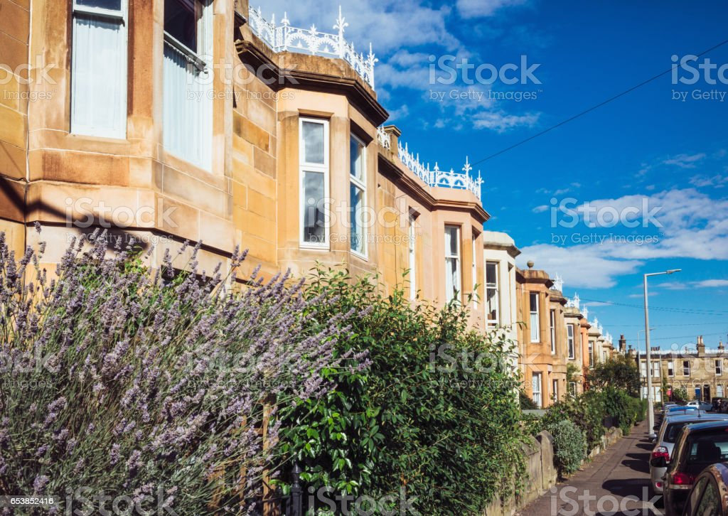 Traditional British stone terraced houses stock photo