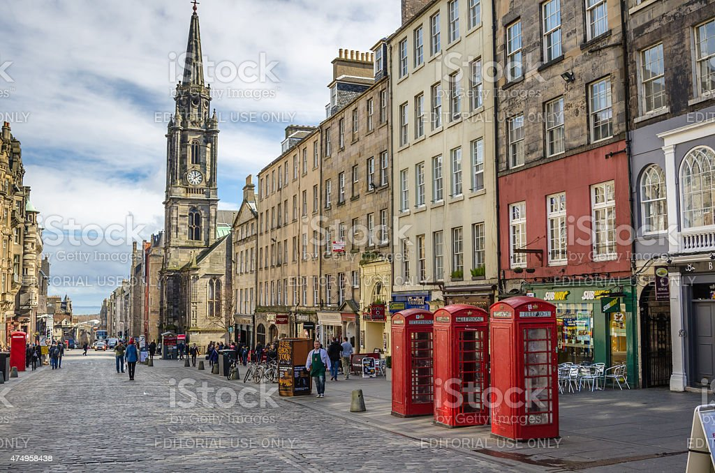 Traditional British Telephone Booths on the Royal Mile in Edinburgh stock photo