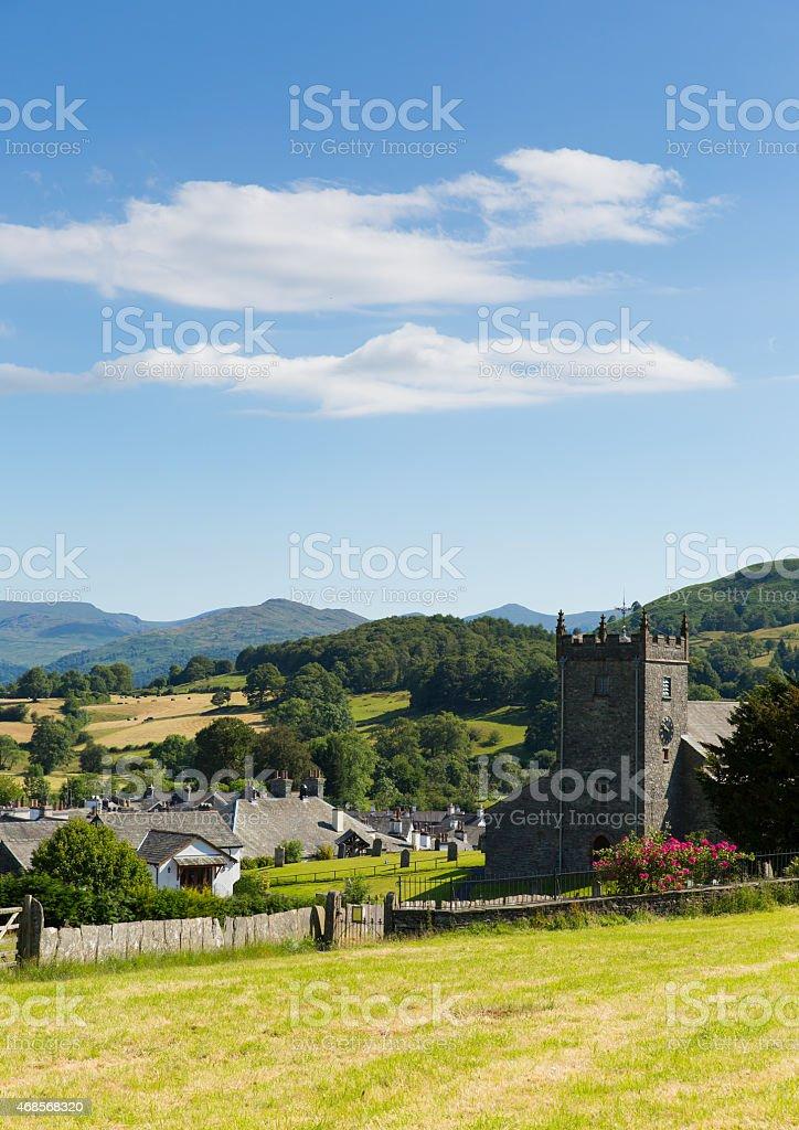Traditional British village English Lake District Hawkshead Cumbria UK summer stock photo