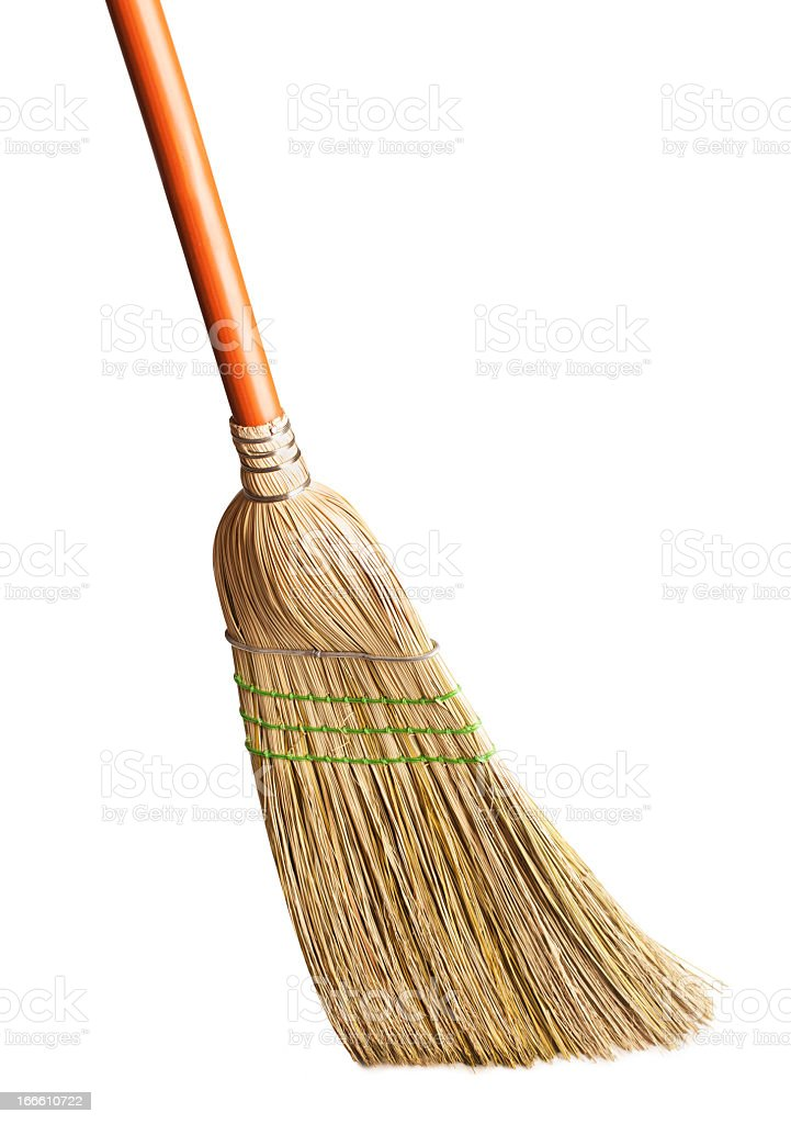 Traditional broom on a white background stock photo