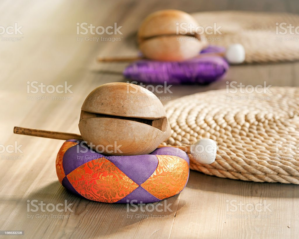 Traditional buddhist wooden music instrument ,Japan stock photo