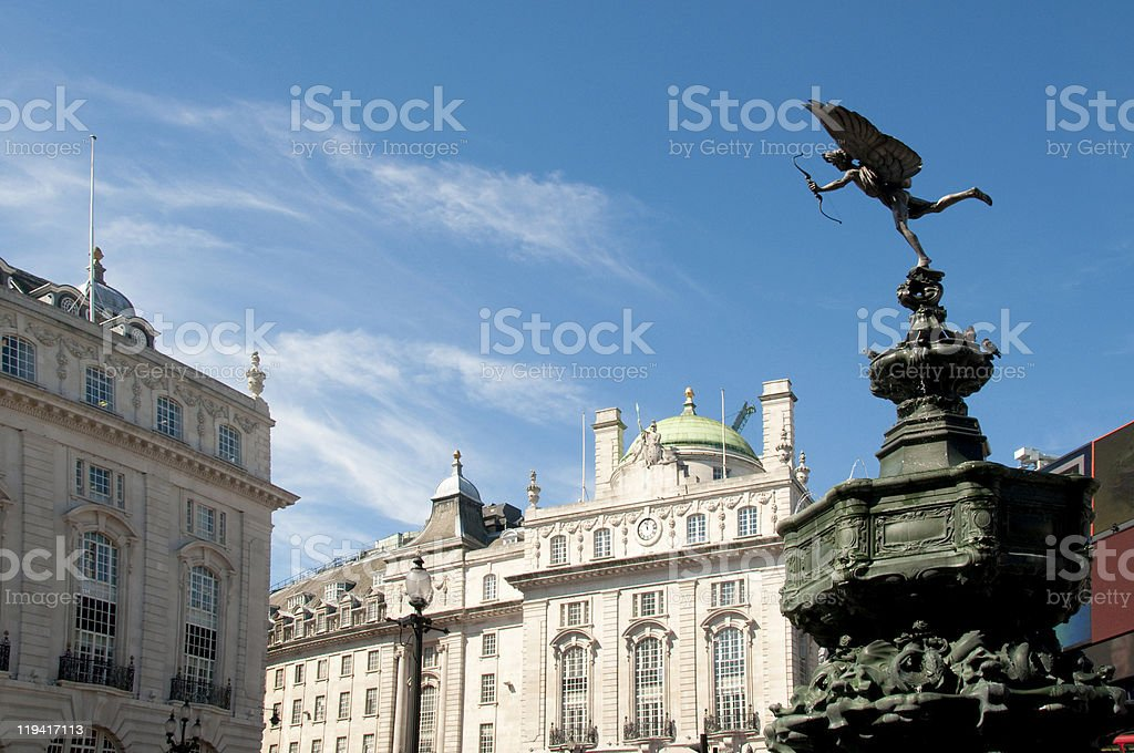 Traditional buildings and statue at picadilly circle of London England stock photo